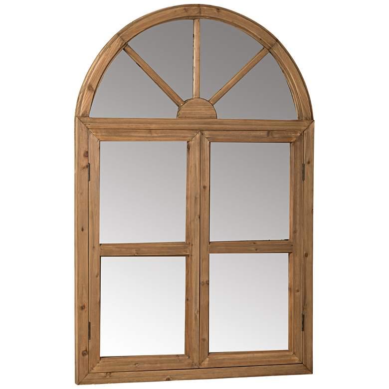 "Nicholson Natural Wood 35"" x 53"" Arch Top Wall Mirror"
