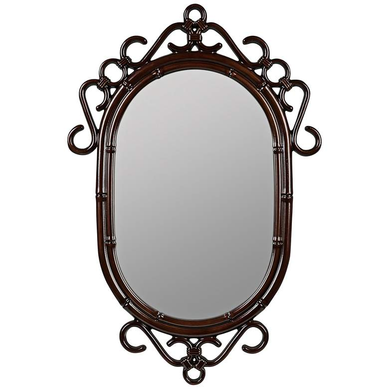 """Francesca Glossy Mahogany 24"""" x 36"""" Wall Mirror"""