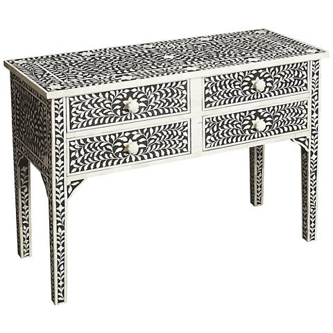 Butler Vivienne Black Bone Inlay 4 Drawer Console Table
