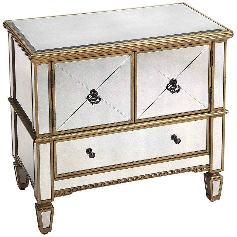 """Celeste 30"""" Wide Gold and Mirrored 2-Door Console Cabinet"""