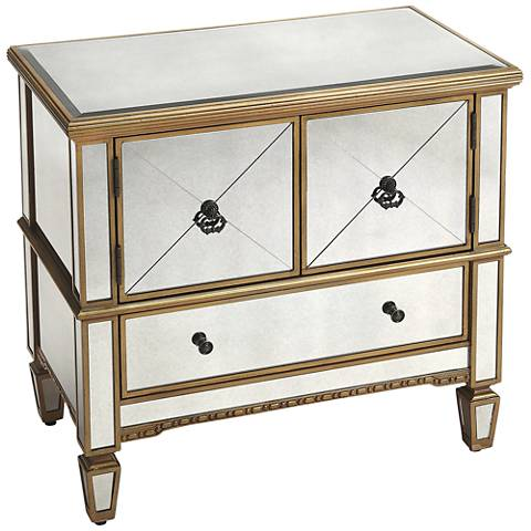 Butler Celeste Mirror and Gold 2-Door Console Cabinet