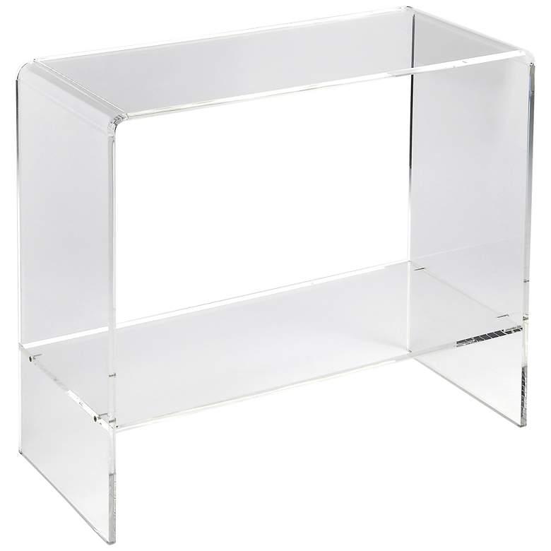 """Crystal 32"""" Wide Clear Acrylic 1-Shelf Modern Console"""