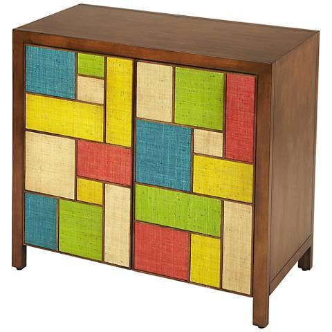 Butler Composition Multi-Color Raffia 2-Door Console Cabinet