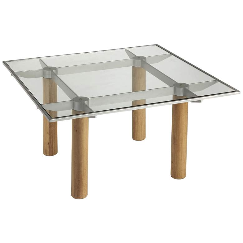 """Cirrus 36"""" Wide Clear Glass and Wood Square Coffee Table"""