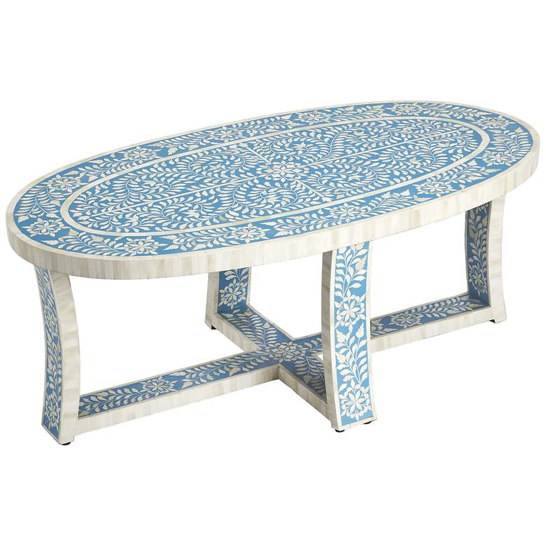 Awesome Darrieux 37 1 2 Wide Blue Bone Inlay Coffee Table 34X94 Andrewgaddart Wooden Chair Designs For Living Room Andrewgaddartcom