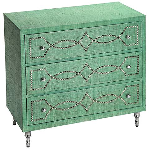 Butler Velinda Green Raffia 3-Drawer Console Chest