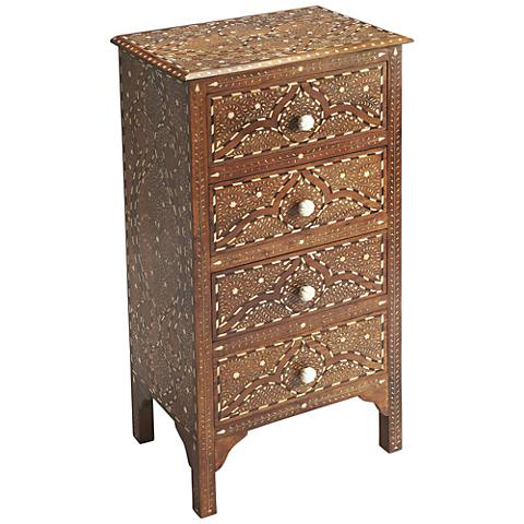 Butler Chevrier Wood and Bone Inlay 4-Drawer Accent Cabinet