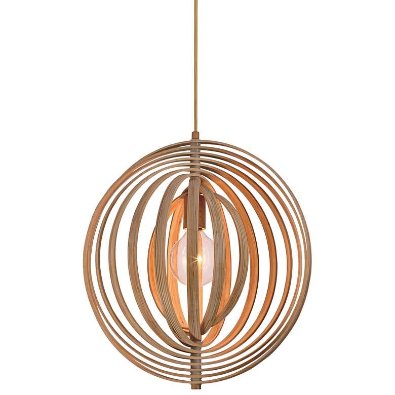 "Eurofase Abruzzo 14"" Wide Wood Pendant Light"
