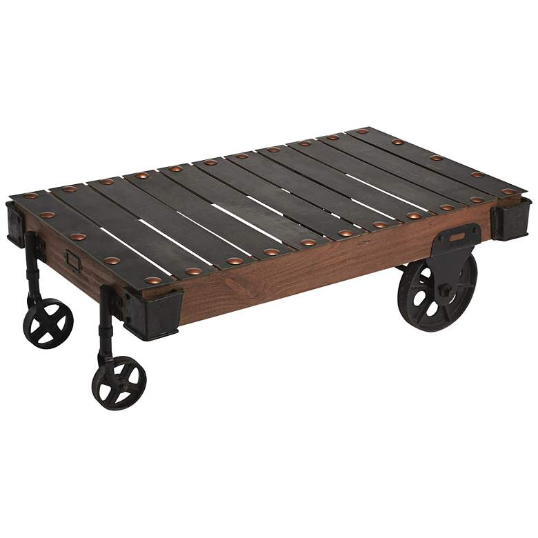 """Chesterfield 55"""" Wide Wheeled Industrial Cart Coffee Table"""