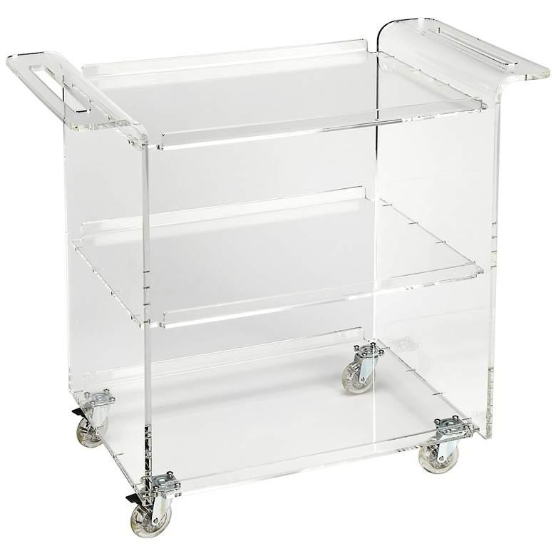 """Crystal Clear 34 1/4"""" Wide Acrylic Bar Cart Trolley Server"""