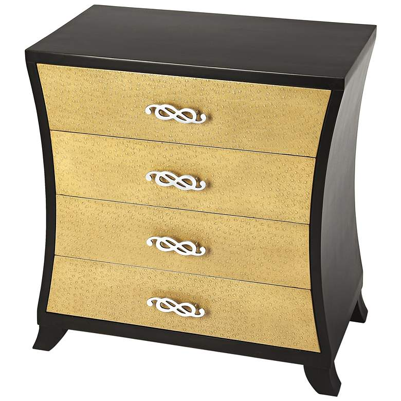 """Saverio 32"""" Wide Gold Ostrich Leather 4-Drawer Chest"""