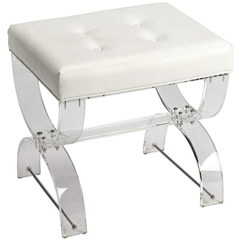Peachy Butler Morena White And Clear Acrylic Tufted Vanity Stool Evergreenethics Interior Chair Design Evergreenethicsorg