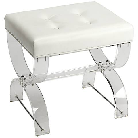 Butler Morena White and Clear Acrylic Tufted Vanity Stool
