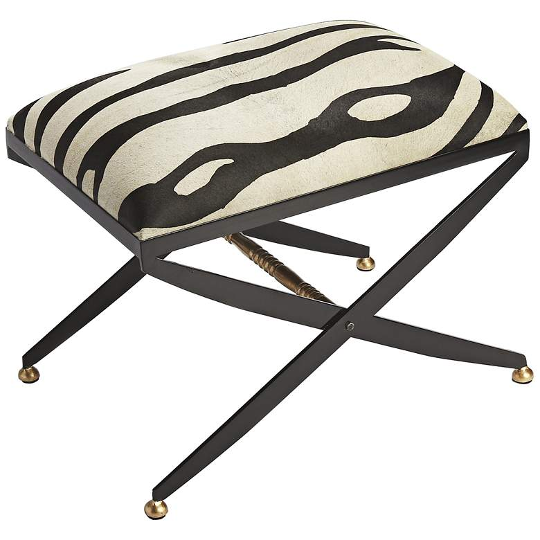 Butler Liddy Black and White Hair-on-Hide Accent Stool