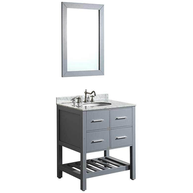 "Bosconi 30"" Gray 2-Drawer Single Sink Vanity Set"