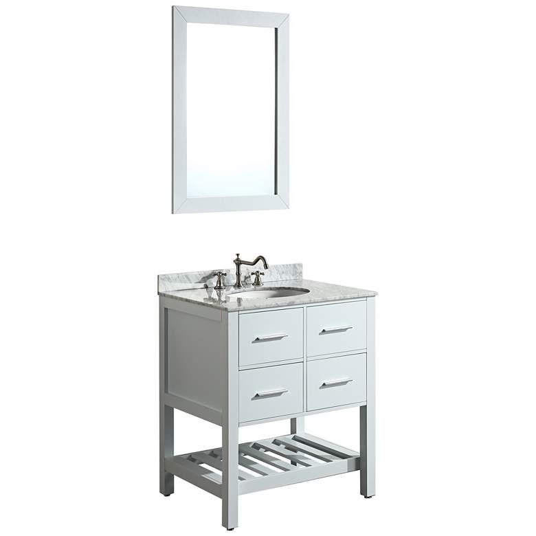 "Bosconi 30"" White 2-Drawer Single Sink Vanity Set"