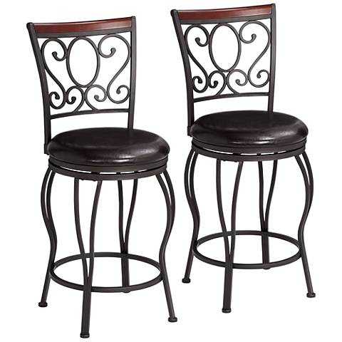 alberta 24 high swivel counter stools set of 2 34y34 lamps plus. Black Bedroom Furniture Sets. Home Design Ideas