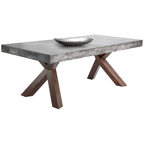 """Warwick 78 3/4"""" Wide Gray Concrete Rectangular Dining Table"""