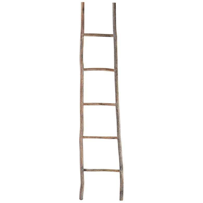 "Branch 70"" High White Washed Wood Decorative Ladder"