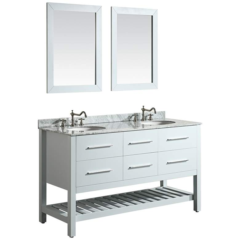"Bosconi 60"" White 4-Drawer Double Sink Vanity Set"