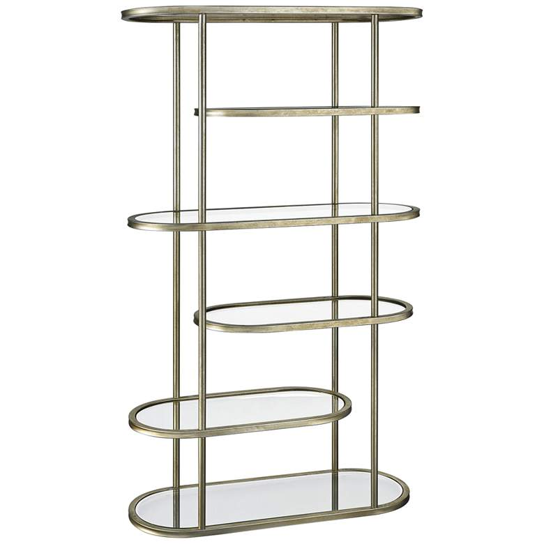 "Gelda 71"" High Glass and Gold Leaf 5-Shelf"