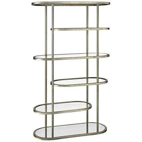 Gelda Tempered Glass and Gold Leaf 5-Shelf Stacked Bookcase
