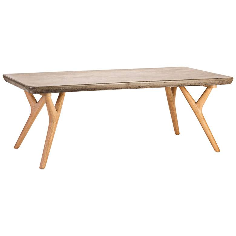 Terrific Twigs 47 Wide Concrete And Oak Modern Coffee Table Beutiful Home Inspiration Xortanetmahrainfo