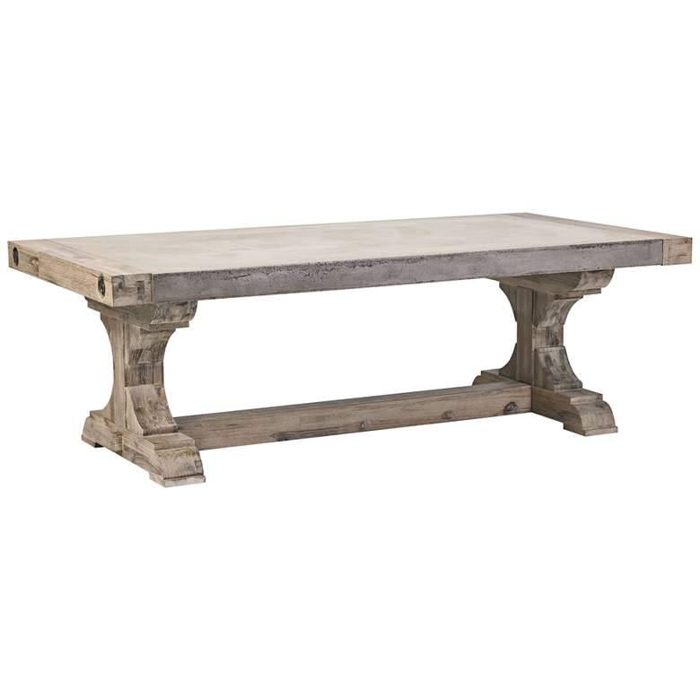 """Pirate Atlantic 53"""" Brushed Wood and Concrete Coffee Table"""