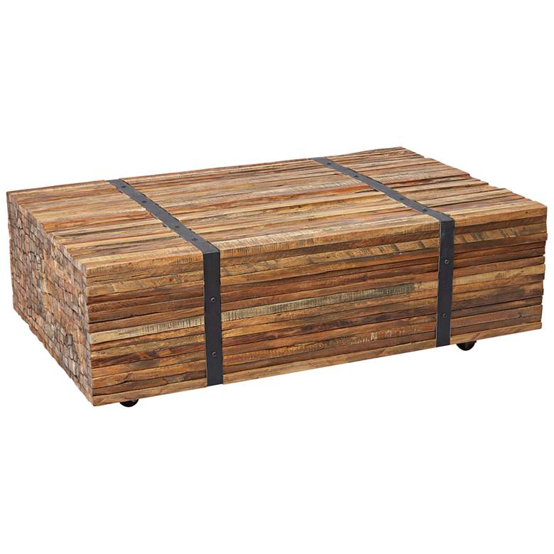 "Grove 43"" Wide Natural Teak Wood Strapped Coffee"