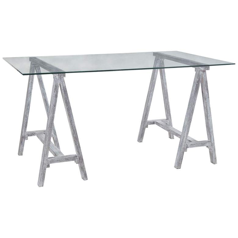 """Architects 60"""" Wide Sandblasted Gray and Glass Trestle Table"""