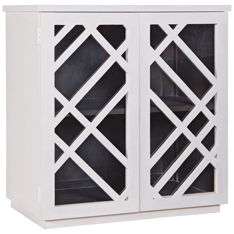 """Plaid 32"""" Wide White Wood and Glass 2-Door Side Chest"""