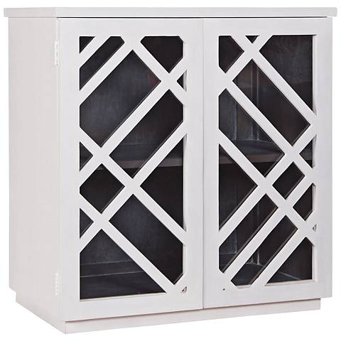 Plaid White Wood and Glass 2-Door Side Chest