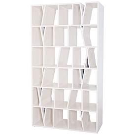 Fragment Cappuccino Foam Wood 6 Shelf Bookshelf