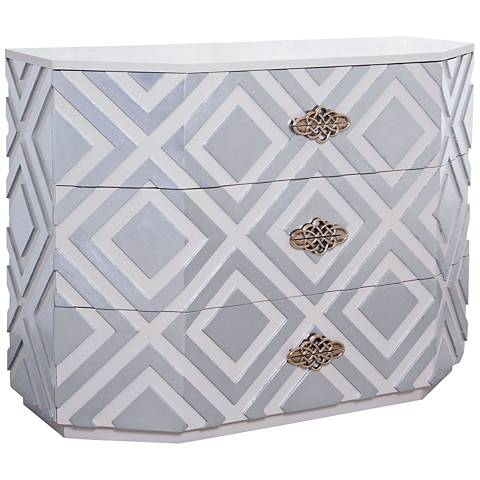 Nemeth Large Cappuccino Foam and Silver Leaf 3-Drawer Chest