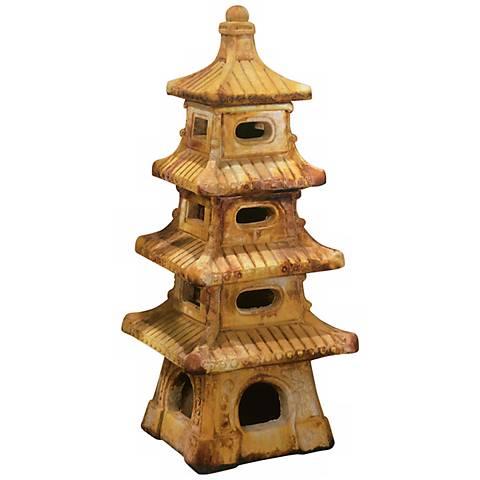 "Henri Studio Cast Stone 4-Tier Pagoda 37""H Garden Accent"
