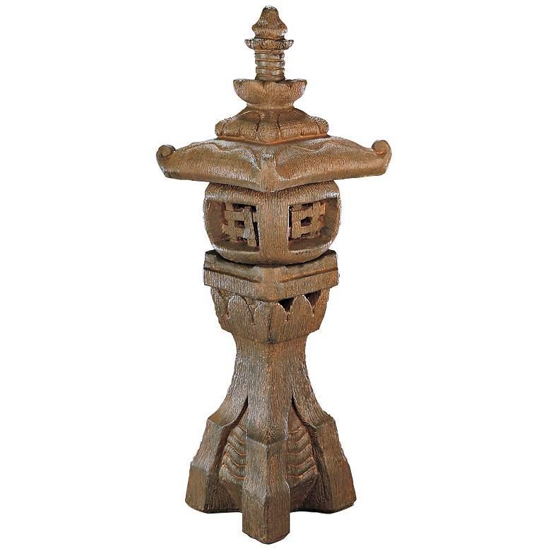 """Japanese Lantern 43"""" High Antique Iron Garden Accent"""