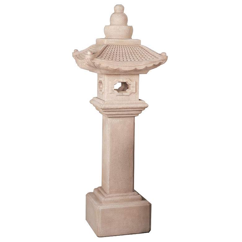 "Great Tall Pagoda Lantern 79"" High Ivory Garden Accent"