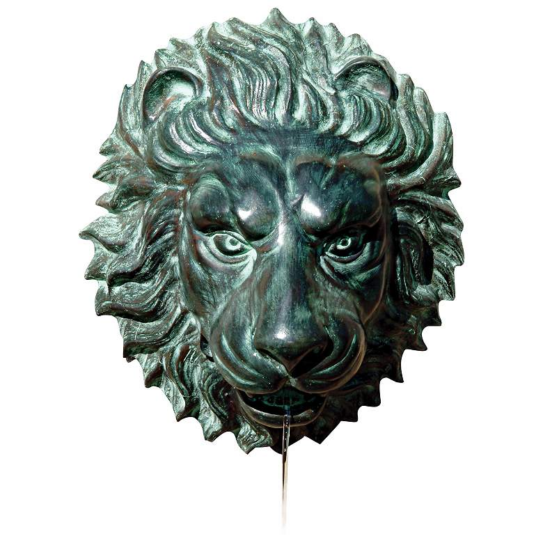 "Lion Head 14"" High Brass Medallion Wall Fountain"