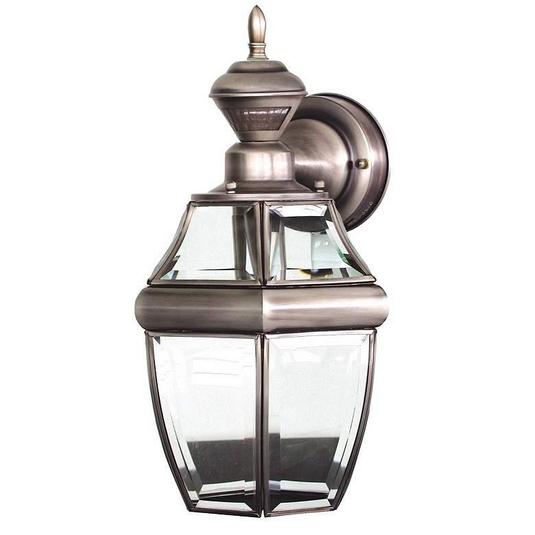 "Antique Silver 14 1/2"" Dusk to Dawn Motion Sensor Wall Light"