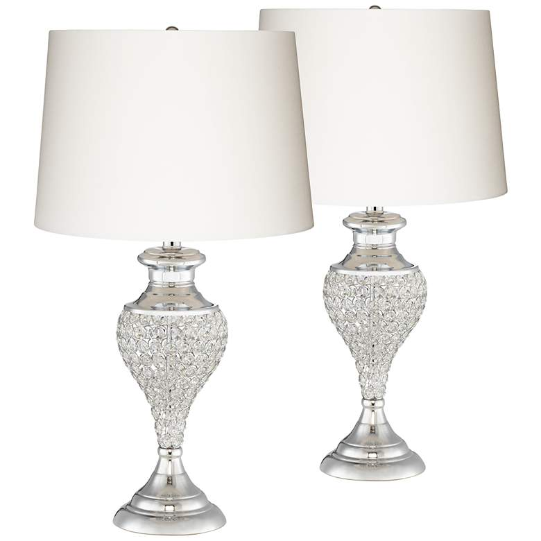 Glitz and Glam Polished Chrome Urn Table Lamps Set of 2