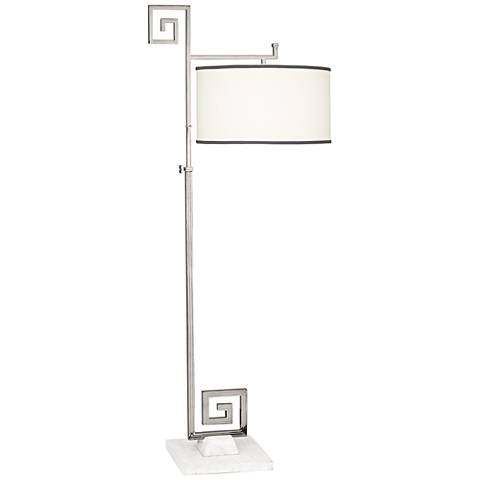 Mykonos Polished Nickel and White Marble Floor Lamp