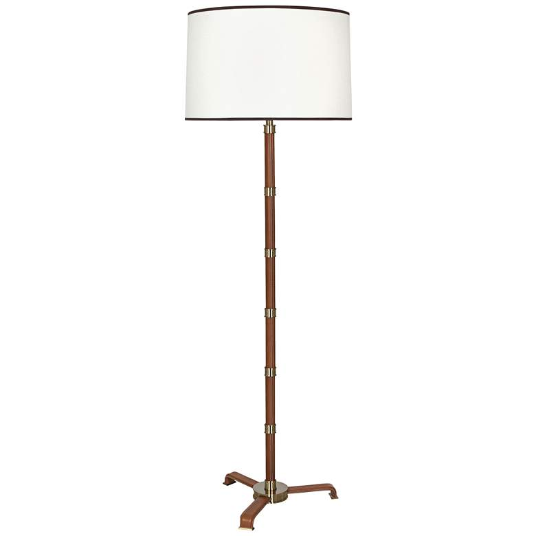 Voltaire Modern Brass with Saddle Leather Floor Lamp