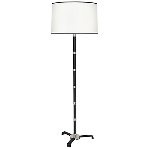 Voltaire Polished Nickel with Black Leather Floor Lamp