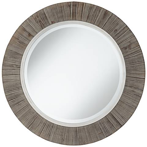 """Allie Gray and Antique Silver 34"""" Round Wall Mirror"""