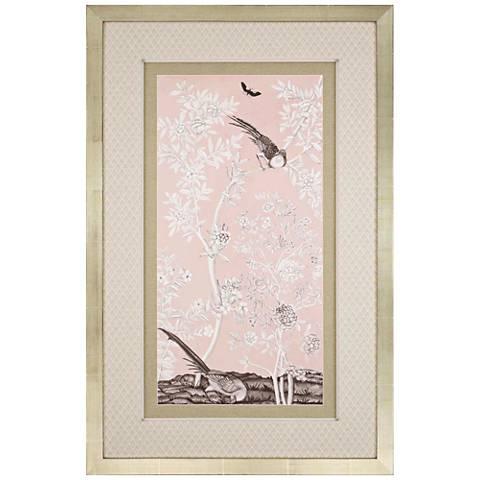 """Blush Chinoiserie II 51"""" High Framed Giclee Wall Art"""