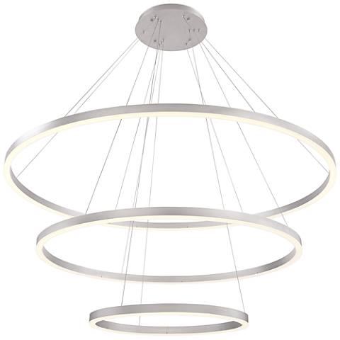 "Eurofase Spunto 60 3/4"" Wide Silver LED 3-Ring Pendant Light"