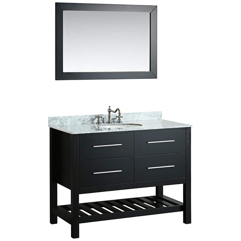 "Bosconi 43"" Black 2-Drawer Single Sink Vanity Set"
