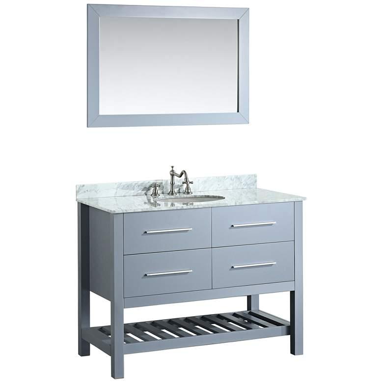 "Bosconi 43"" Gray 2-Drawer Single Sink Vanity Set"