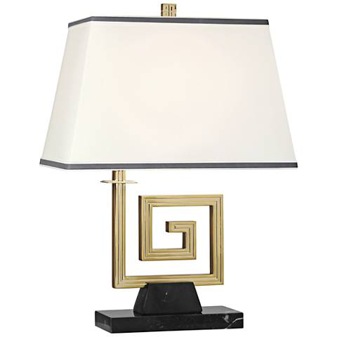 Mykonos Modern Brass and Black Marble Accent Table Lamp
