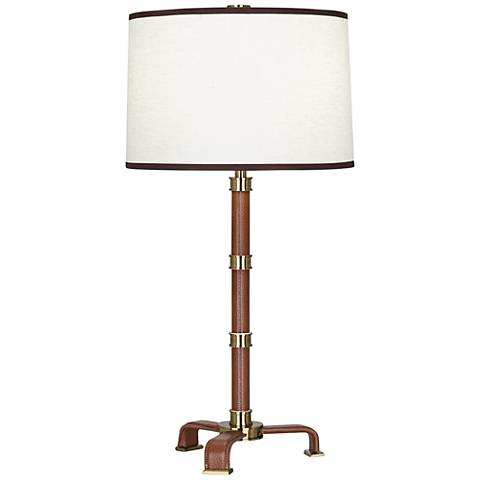 Voltaire Modern Brass and Saddle Leather Table Lamp